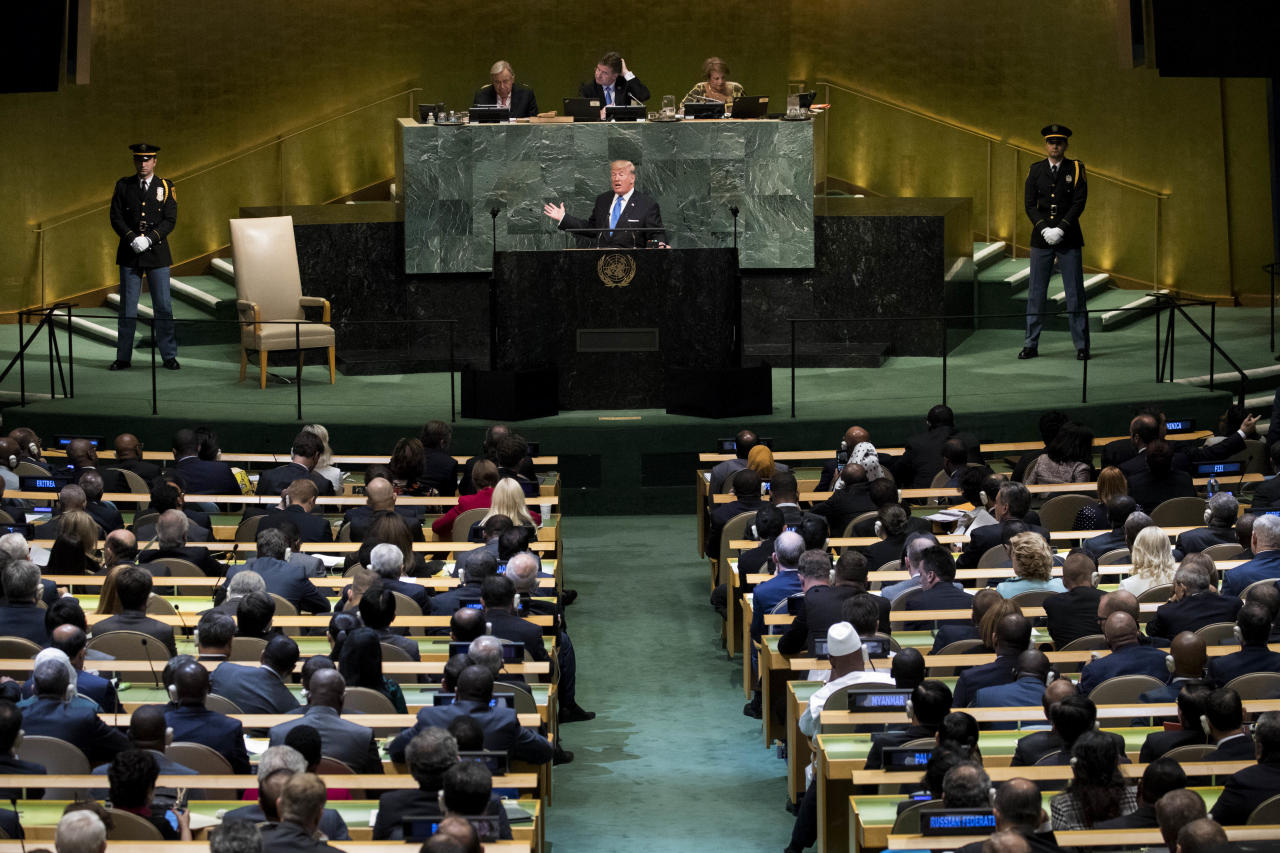 <p>President Trump addresses the United Nations General Assembly at U.N. headquarters, Sept. 19, 2017, in New York City. Among the issues facing the assembly this year are North Korea's nuclear developement, violence against the Rohingya Muslim minority in Myanmar and the debate over climate change. (Photo: Drew Angerer/Getty Images) </p>