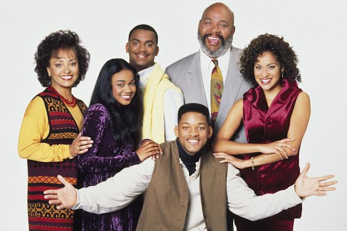 Daphne Reid, Tatyana Ali, Alfonso Ribeiro, James Avery, Karyn Parsons, Will Smith in a promotional image for 'The Fresh Prince of Bel-Air': Photo by Nbc/Stuffed Dog/Quincy Jones Ent/Kobal/REX