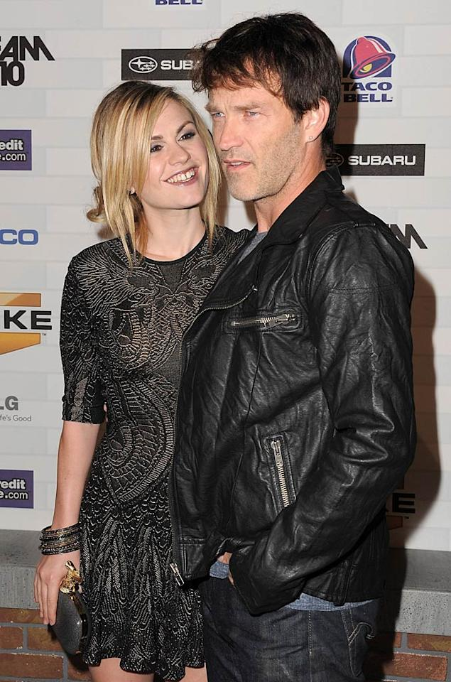 """It was love on screen and off for """"True Blood"""" co-stars Stephen Moyer and actress Anna Paquin, who pledged their eternal love for one another during a sunset ceremony in Malibu, California, on August 21. By all accounts, the bride, groom, and their guests had a """"bloody"""" good time! Jordan Strauss/<a href=""""http://www.wireimage.com"""" target=""""new"""">WireImage.com</a> - October 16, 2010"""