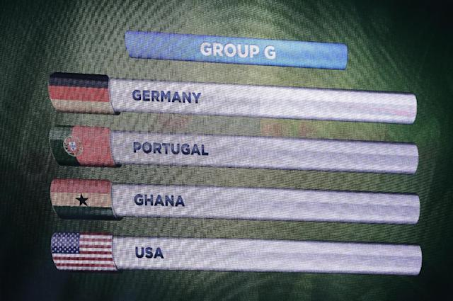 Group G is displayed on a screen during the draw ceremony for the 2014 soccer World Cup in Costa do Sauipe near Salvador, Brazil, Friday, Dec. 6, 2013. (AP Photo/Victor R. Caivano)