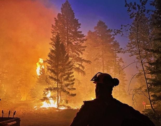 British Columbians are making federal voting decisions in the midst of another raging wildfire season, unprecedented heat waves and devastating drought conditions. Climate change is the culprit and polling data shows it will be top of mind at the polls on September 20. (B.C. Wildfire Service/Twitter - image credit)