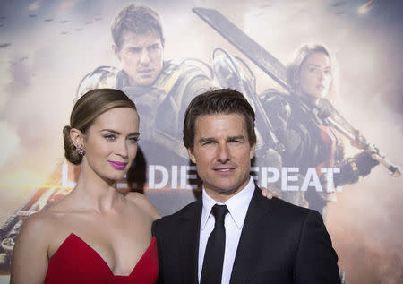 "Cast members Emily Blunt and Tom Cruise arrive for the premiere of ""Edge of Tomorrow"" in New York"