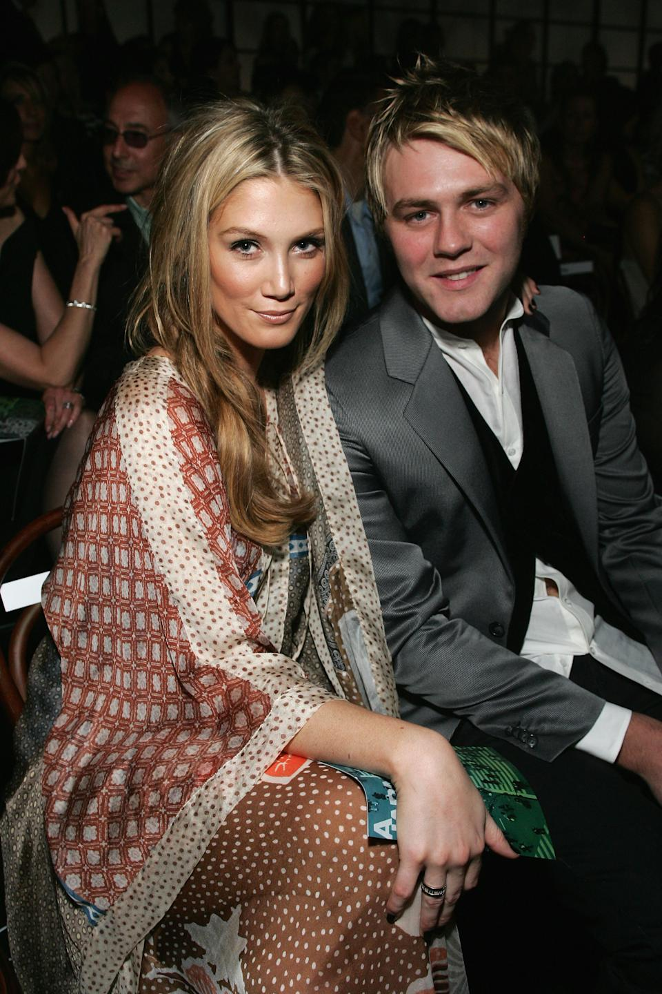 Singers Delta Goodrem and fiance Brian McFadden sit in the front row to watch the catwalk show at the David Jones Winter 2008 Collection Launch on February 12, 2008 in Sydney, Australia.
