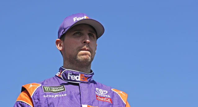 "<a class=""link rapid-noclick-resp"" href=""/nascar/sprint/drivers/1283/"" data-ylk=""slk:Denny Hamlin"">Denny Hamlin</a> is introduced prior to the NASCAR Cup Series 300 auto race at New Hampshire Motor Speedway in Loudon, N.H., Sunday, Sept. 24, 2017. (AP Photo/Charles Krupa)"