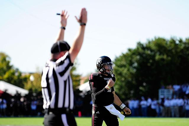 STARKVILLE, MS - NOVEMBER 03: Johnny Manziel #2 of the Texas A&M Aggies reacts to a touchdown against the Mississippi State Bulldogs at Wade Davis Stadium on November 3, 2012 in Starkville, Mississippi. (Photo by Stacy Revere/Getty Images)