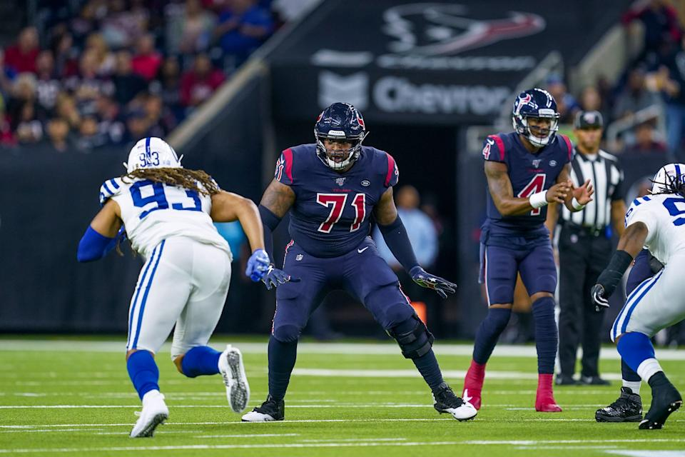 HOUSTON, TX - NOVEMBER 21: Houston Texans offensive tackle Tytus Howard (71) looks to block during the game between the Indianapolis Colts and Houston Texas on November 21, 2019 at NRG Stadium in Houston, TX.  (Photo by Daniel Dunn/Icon Sportswire via Getty Images)
