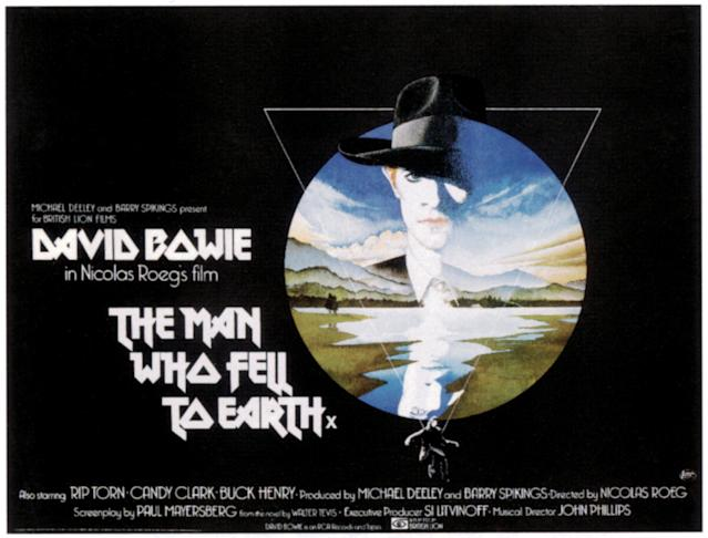 The Man Who Fell To Earth, poster, David Bowie, 1976. (Photo by LMPC via Getty Images)
