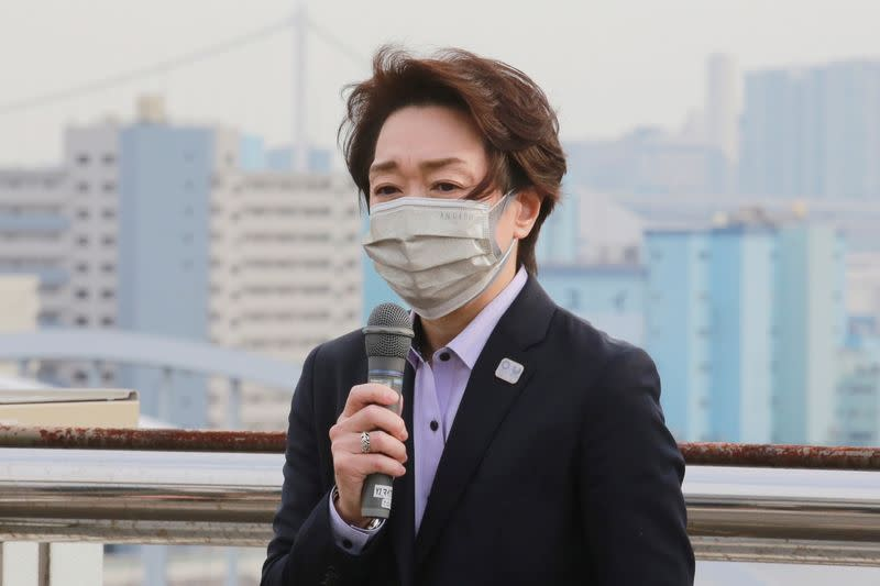 Seiko Hashimoto, President of the Tokyo 2020 Organizing Committee of the Olympic and Paralympic Games, speaks during her visits at Tsukiji Depot, Tokyo