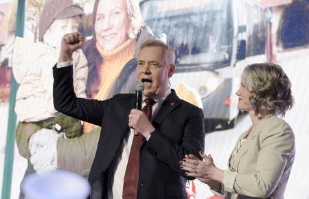 Chairman of the Finnish Social Democratic Party Antti Rinne and his wife Heta Ravolainen-Rinne attend the election party in Helsinki