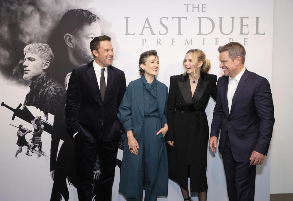 NEW YORK, NEW YORK – OCTOBER 09: (L-R) Ben Affleck, Harriet Walter, Jodie Comer, and Matt Damon attend The Last Duel New York Premiere on October 09, 2021 in New York City. (Photo by Michael Loccisano/Getty Images for 20th Century Studios) - Credit: Getty Images for 20th Century Studios
