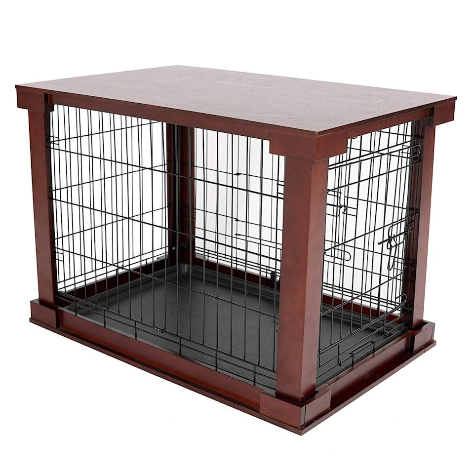 """<p>With options for small, medium, and large dogs, this <a href=""""https://www.popsugar.com/buy/Merry%20Products%20Cage%20With%20Crate%20Cover-433998?p_name=Merry%20Products%20Cage%20With%20Crate%20Cover&retailer=amazon.com&price=92&evar1=moms%3Aus&evar9=46016697&evar98=https%3A%2F%2Fwww.popsugar.com%2Ffamily%2Fphoto-gallery%2F46016697%2Fimage%2F46016715%2FMerry-Products-Cage-Crate-Cover&list1=dogs&prop13=api&pdata=1"""" rel=""""nofollow noopener"""" target=""""_blank"""" data-ylk=""""slk:Merry Products Cage With Crate Cover"""" class=""""link rapid-noclick-resp"""">Merry Products Cage With Crate Cover</a> ($92) is an attractive alternative to a typical dog crate.</p>"""