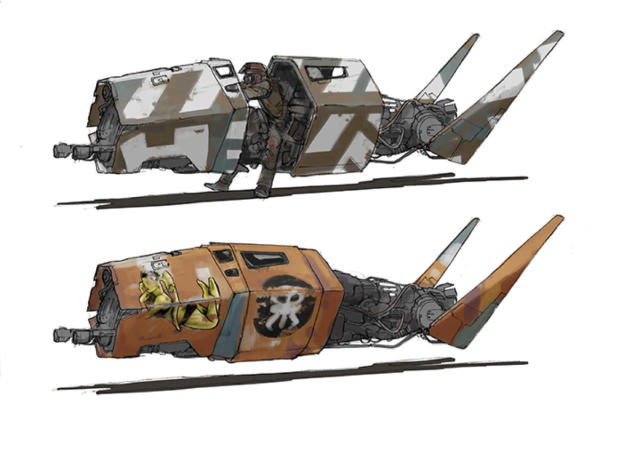 <p>These are Jake Lunt Davies's early designs for the speeders piloted by raiders who are rivals to Han's gang. (Image courtesy of Abrams Books/Lucasfilm Ltd.) </p>