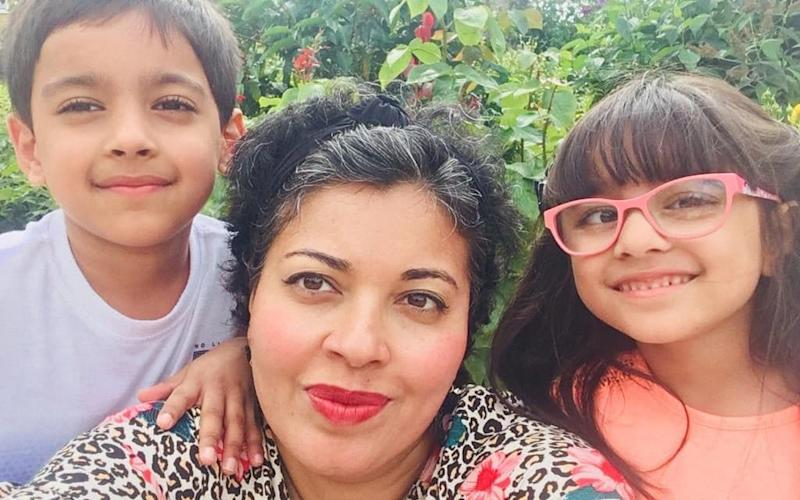 2019: Meena with six-year-old Krish (left) and Mia - Courtesy of Meena Kumari-Sharma