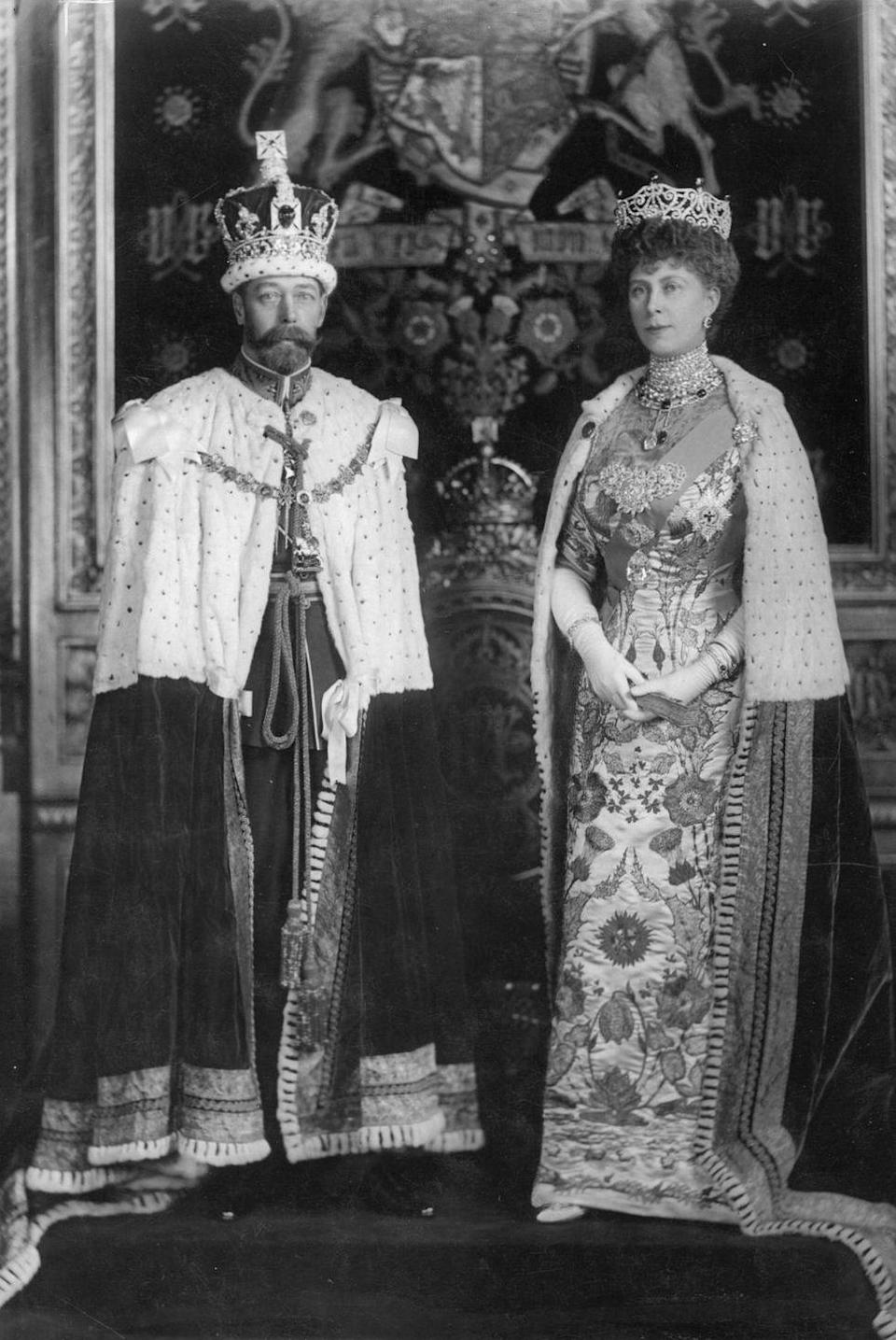 <p>King George V, Elizabeth II's grandfather, ruled Britain from 1910 (following the death of his father, Edward VII) until his passing in 1936. Here, he's pictured with his wife, Queen Mary, formerly Princess Mary of Teck, at the Robing room of the House of Lords.</p>