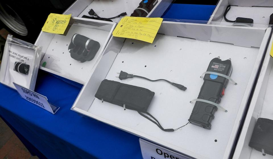 Police seized a variety of stun guns during an operation in Sham Shui Po. Photo: Nora Tam