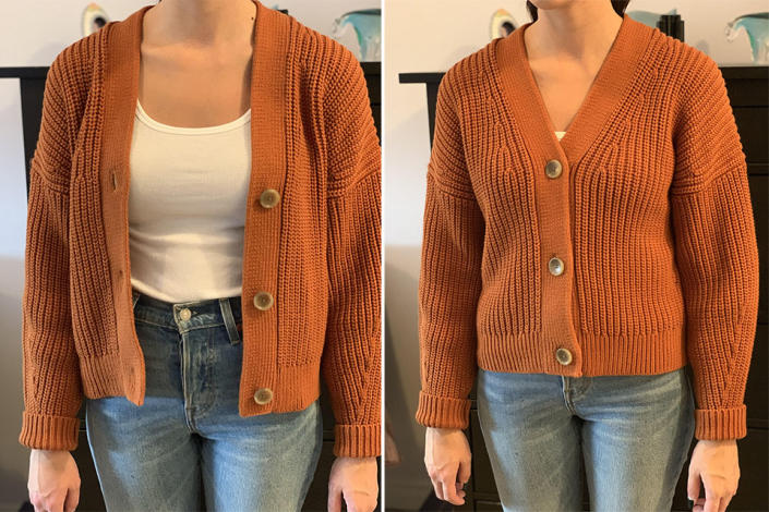 Everlane Texture Crop Cardigan in Cider, size small