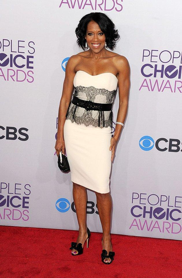 "BEST: Regina King.  Elegant in a white and black lace cocktail dress, the ""Southland"" star is on hand to present an award to her friend, Sandra"