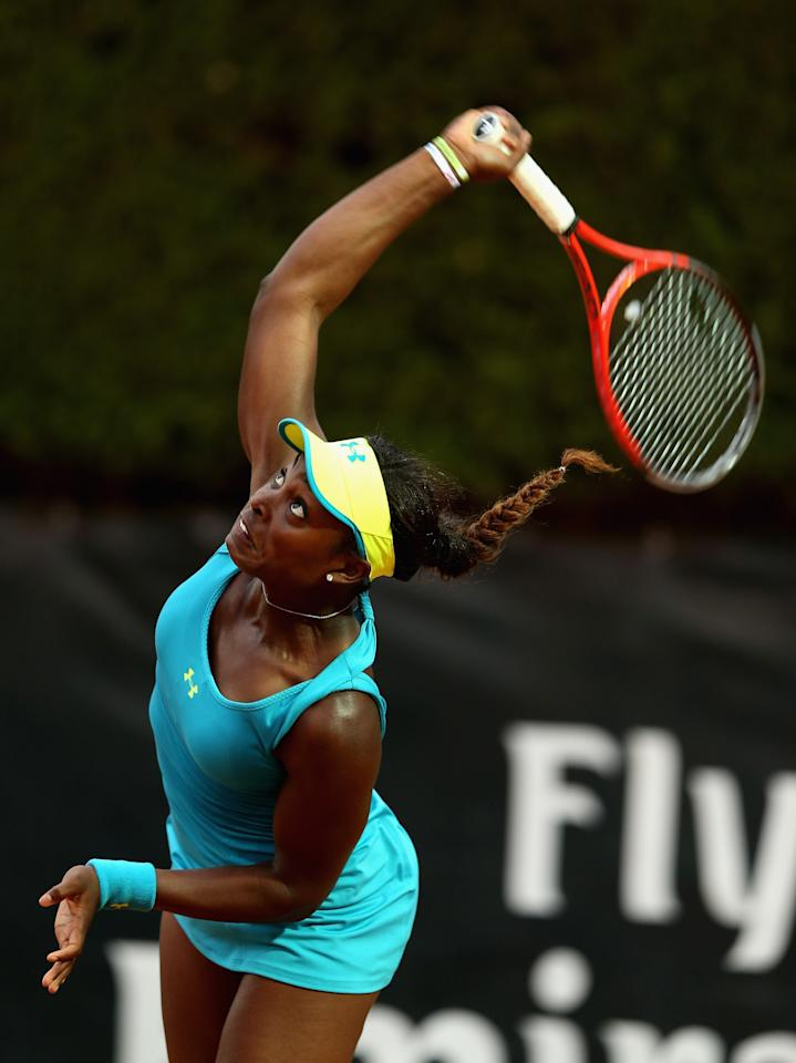 ROME, ITALY - MAY 15:  Sloane Stephens of the USA serves against Kiki Bertens of Netherlands in their second round match during day four of the Internazionali BNL d'Italia 2013 at the Foro Italico Tennis Centre on May 15, 2013 in Rome, Italy.  (Photo by Clive Brunskill/Getty Images)