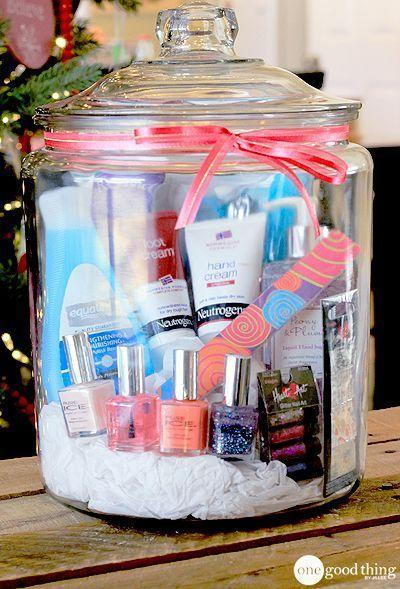 """Love the idea of creating a """"girl's night in"""" or """"spa in a jar"""" present for a girlfriend. [Photo: One Good Thing]"""