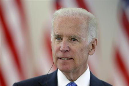 U.S. Vice President Joe Biden listens during a news conference in Vilnius