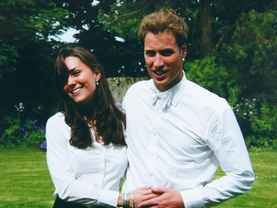 Prince William, with a fuller head of hair, and his future wife, Kate Middleton, at their college graduation ceremony in St. Andrew's in Scotland in 2005. (Photo: Getty Images)