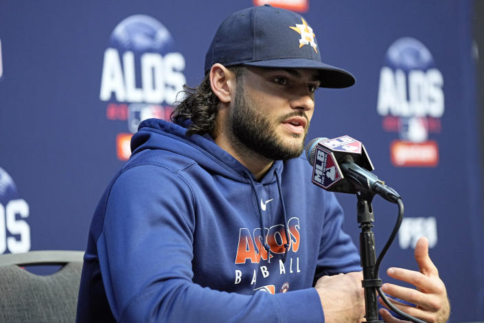 Houston Astros starting pitcher Lance McCullers Jr. answers a question during a news conference Wednesday, Oct. 6, 2021, in Houston. McCullers Jr. will start for the Astros when they host the Chicago White Sox in an American League Division Series game Thursday. (AP Photo/David J. Phillip)