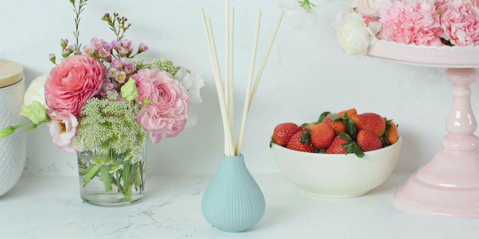 """<p>Fill your mom's home with a scent that she's guaranteed to love by mixing different essential oils until you create her new signature blend. </p><p><em><a href=""""https://www.goodhousekeeping.com/home/a30730962/homemade-reed-diffuser/"""" rel=""""nofollow noopener"""" target=""""_blank"""" data-ylk=""""slk:Get the tutorial »"""" class=""""link rapid-noclick-resp"""">Get the tutorial »</a></em></p>"""