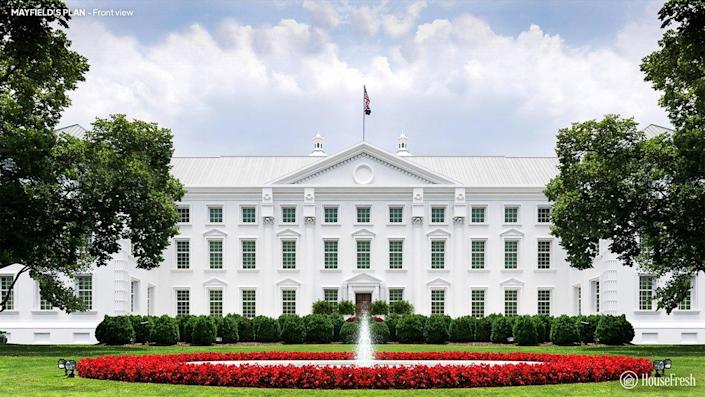 Front view of the White House designed by Andrew Mayfield Carshore.
