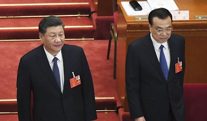 Chinese President Xi Jinping (left) and Premier Li Keqiang at the opening ceremony of the National People's Congress. Photo: Kyodo