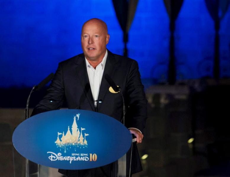 FILE PHOTO: Bob Chapek, chairman of Walt Disney Parks and Resorts, speaks during the 10th anniversary ceremony of Hong Kong Disneyland in Hong Kong