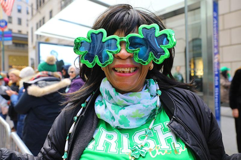 A woman shows off her shamrock eyewear along Fifth Ave. during the St. Patrick's Day Parade; March 16, 2019 in New York. (Photo: Gordon Donovan/Yahoo News)