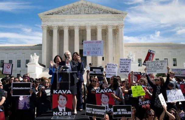PHOTO: Senator Kirsten Gillibrand speaks alongside Senator Kamala Harris and Senator Mazie Hirono, as demonstrators protest against Judge Brett Kavanaugh's nomination outside the U.S. Supreme Court in Washington, D.C., Sept. 28, 2018. (Saul Loeb/AFP/Getty Images, FILE)