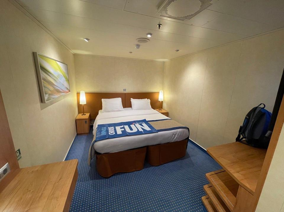 A wide-angle image of my cabin room.