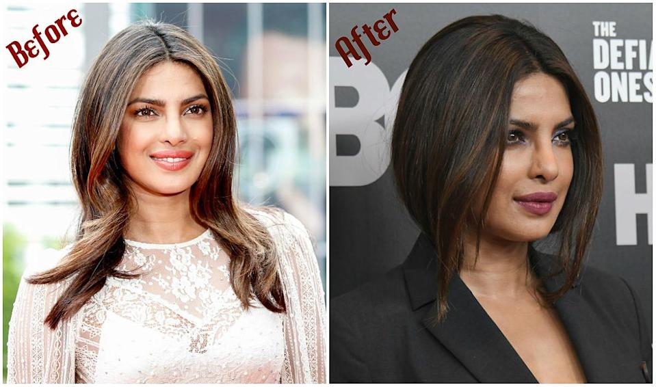 """<p><b>When: June 27, 2017</b><br>Priyanka Chopra appears to have ditched her wavy, layered locks in favour of a short, straight lob! The """"Quantico"""" actress debuted the new shoulder-length 'do while attending the New York premiere of """"The Defiant Ones"""" on Tuesday night. The short, highlighted layers were straight-ironed to perfection and framed Chopra's cherubim features — but if you prefer her with longer tresses, it's entirely possible the 34-year-old didn't chop her hair, but tucked it in at the nape of her suit jacket to achieve a faux-bob! Are you loving her bold, new look? <i> (Photos: Getty) </i> </p>"""