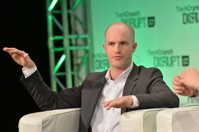 Coinbase CEO Brian Armstrong at TechCrunch Disrupt in 2014 (TechCrunch)