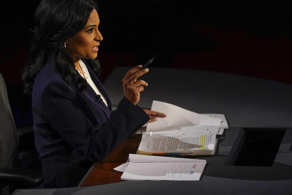Moderator Kristen Welker of NBC News asks a question during the second and final presidential debate Thursday, Oct. 22, 2020, at Belmont University in Nashville, Tenn. (AP Photo/Morry Gash, Pool)
