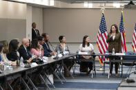 Vice President Kamala Harris meets with Democrats from the Texas state legislature at the American Federation of Teachers, Tuesday, July 13, 2021, in Washington. (AP Photo/Alex Brandon)