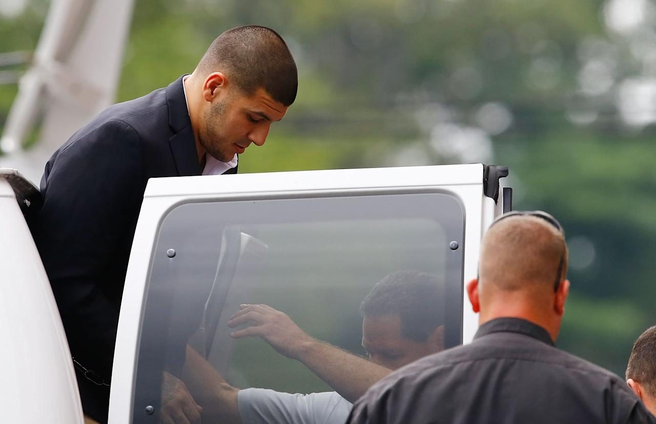 "<p>In 2013, a jogger found Odin Lloyd, a semiprofessional football player dating Hernandez's fiancée's sister, dead with multiple gunshot wounds at a <a href=""http://www.boston25news.com/news/source-north-attleboro-victim-shot-multiple-times-in-industrial-park-1/140489047/"" target=""_blank"" class=""ga-track"" data-ga-category=""Related"" data-ga-label=""http://www.boston25news.com/news/source-north-attleboro-victim-shot-multiple-times-in-industrial-park-1/140489047/"" data-ga-action=""In-Line Links"">North Attleboro, MA,</a> park. Days after the body's discovery, Hernandez was arrested and charged with first-degree murder on <a href=""https://www.cnn.com/2014/03/09/us/aaron-hernandez-fast-facts/index.html"" target=""_blank"" class=""ga-track"" data-ga-category=""Related"" data-ga-label=""https://www.cnn.com/2014/03/09/us/aaron-hernandez-fast-facts/index.html"" data-ga-action=""In-Line Links"">June 26</a>. In 2015, Hernandez was convicted of first-degree murder and sentenced to life without the possibility of parole for his friend's death. </p>"