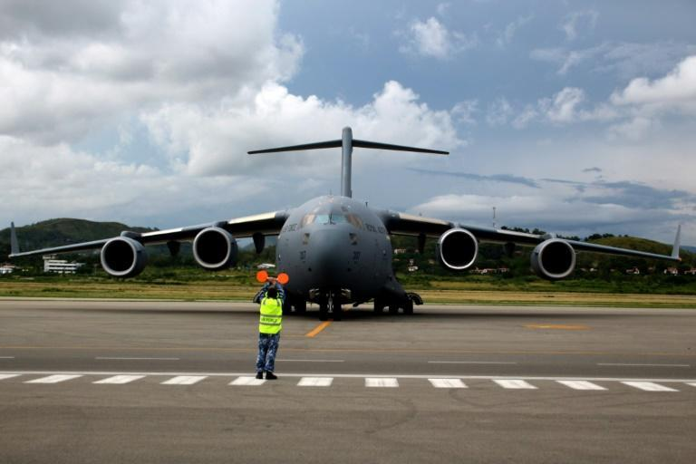The vaccines arrived in a grey air force C-17
