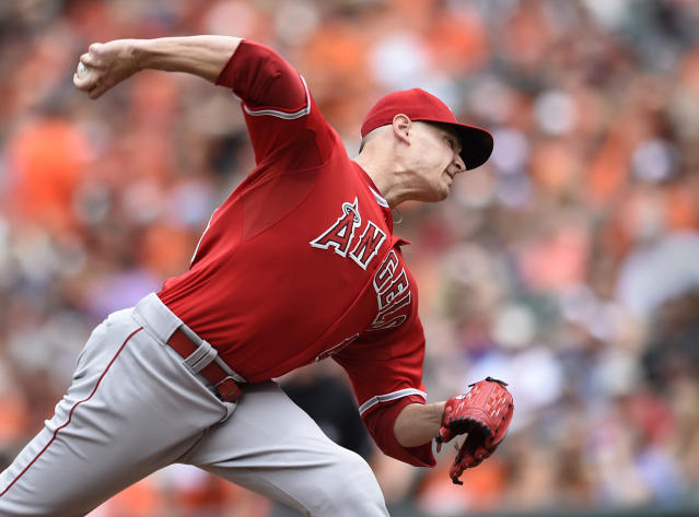 Los Angeles Angels starting pitcher Garrett Richards throws against the Baltimore Orioles on Sunday. (AP)