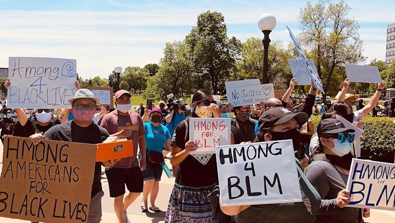Hmong protesters supporting BLM