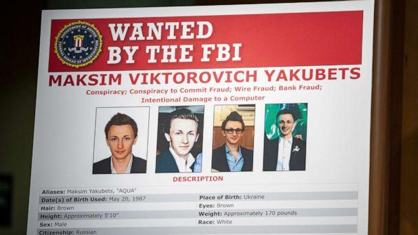 PHOTO: The wanted poster of Maksim Viktorovich Yakubets is displayed at the U.S. Department of Justice on Dec. 5, 2019 in Washington, D.C. (Samuel Corum/Getty Images)