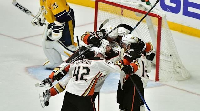 """<p>The Western Conference Final is now a best-of-three series. An overtime goal from Corey Perry propelled the Anaheim Ducks to a 3-2 win Thursday against the Predators in Nashville. The win evened the series at two games apiece.</p><p>Rickard Rakell got the Ducks out to a 1-0 lead. Defenseman Cam Fowler sent a stretch pass up the ice to Rakell, who collected the puck and fired a blast past Predators goalie Pekka Rinne at 11:30 in the first period.</p><p>Anaheim's lead ballooned to 2-0 midway in the second period, when Nick Ritchie skated into the Ducks' offensive zone, dragged the puck around Nashville's Roman Josi and scored on a wrist shot top shelf and glove side at 10:22.</p><p><a href=""""https://www.si.com/nhl/game/1906631"""" rel=""""nofollow noopener"""" target=""""_blank"""" data-ylk=""""slk:Recap"""" class=""""link rapid-noclick-resp"""">Recap</a>   <a href=""""https://www.si.com/nhl/game/1906631/box-score"""" rel=""""nofollow noopener"""" target=""""_blank"""" data-ylk=""""slk:Box score"""" class=""""link rapid-noclick-resp"""">Box score</a>   <a href=""""http://www.120sports.com/video/v231055108/ducks-win-game-4-in-overtime"""" rel=""""nofollow noopener"""" target=""""_blank"""" data-ylk=""""slk:Highlights"""" class=""""link rapid-noclick-resp"""">Highlights</a></p><p>The Predators are used to trailing in playoff games. The team rode a 10-game postseason home winning streak—a streak dating back to the 2016 postseason—into Thursday night's game. Nashville trailed in seven of those contests. P.K. Subban and Filip Forsberg breathed life into a potential eighth come-from-behind victory for Nashville with third-period goals in the final 6:27 of regulation to force overtime.</p><p>But Corey Perry and the Ducks ruined the Predators' comeback hopes. Perry's goal at 10:25 of overtime made him the NHL's third player to ever tally three overtime goals in a single postseason joining Maurice Richard (1951) and Mel Hill (1939).</p><p>Game 5 is set for Saturday in Anaheim.</p><p><strong>Predators sleep through first period</strong></p><p>Nashville register"""