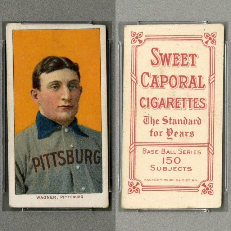 Front and back of the 1909 T206 PSA 5 (MC) Honus Wagner card
