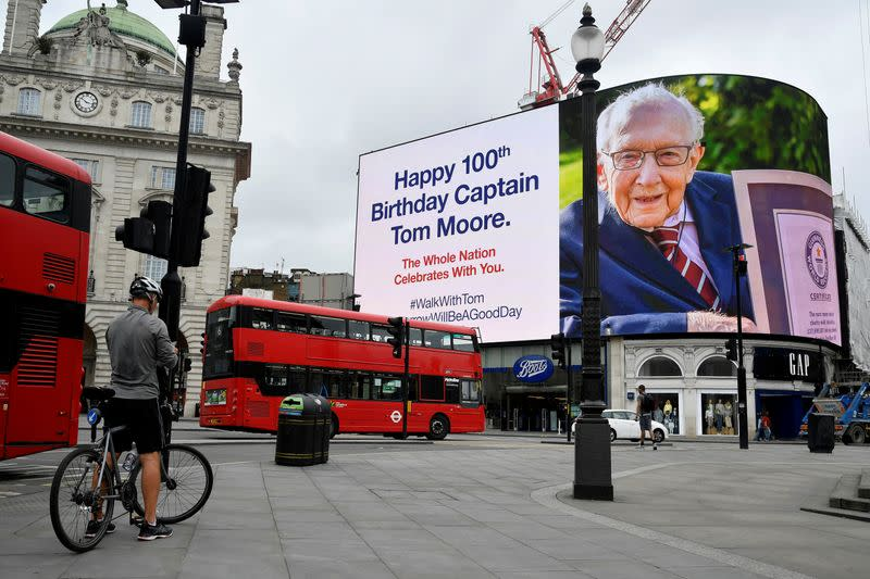 100th birthday of army veteran Captain Tom Moore, in London