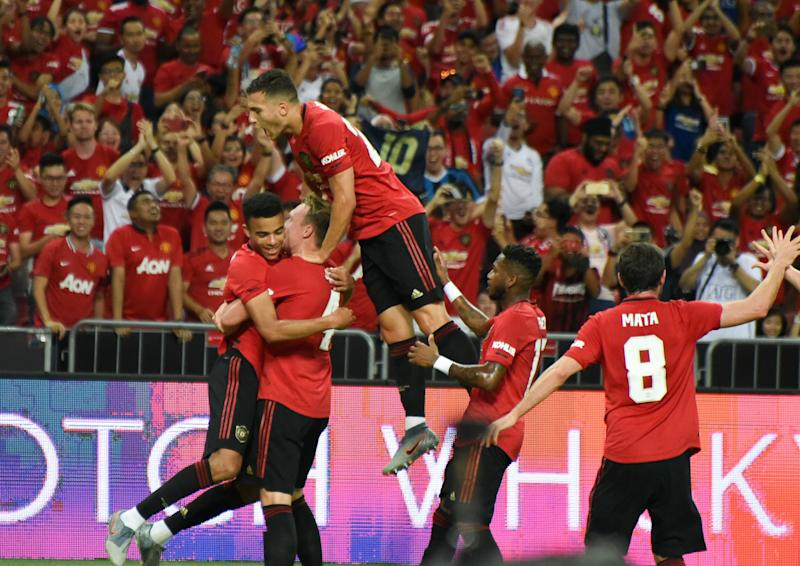 Manchester United forward Mason Greenwood (left) is being mobbed by his teammates after scoring their only goal against Inter Milan in the International Champions Cup. (PHOTO: Zainal Yahya/Yahoo News Singapore)
