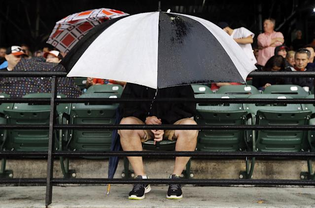 A fan tries to stay dry as he sits in the stands during a rain delay in the second inning of a baseball game between the Baltimore Orioles and the Boston Red Sox, Tuesday, June 10, 2014, in Baltimore. (AP Photo/Patrick Semansky)