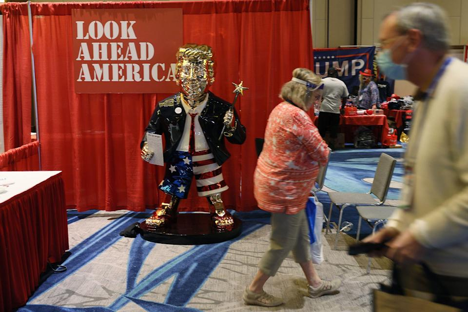 A gold statue of former President Donald Trump is on display at the Conservative Political Action Conference being held in the Hyatt Regency on Feb. 26, 2021 in Orlando, Florida. (Photo: Photo by Joe Raedle/Getty Images)