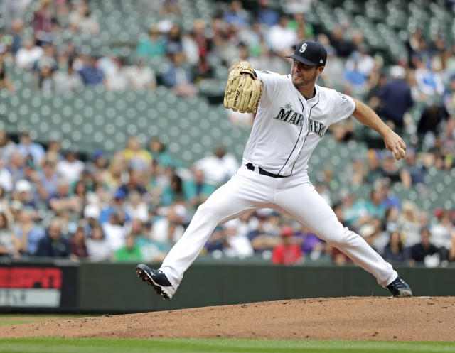 Seattle Mariners starting pitcher Wade LeBlanc throws against the Tampa Bay Rays during the second inning of a baseball game, Sunday, Aug. 11, 2019, in Seattle. (AP Photo/Ted S. Warren)