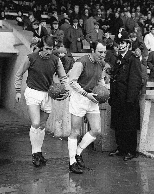 Hurst and Greaves run out for a match together for West Ham